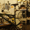 Seatpost and Saddle on so that the frame can be clamped to the stand.